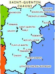 Carte du bassin St Quentin Chauny